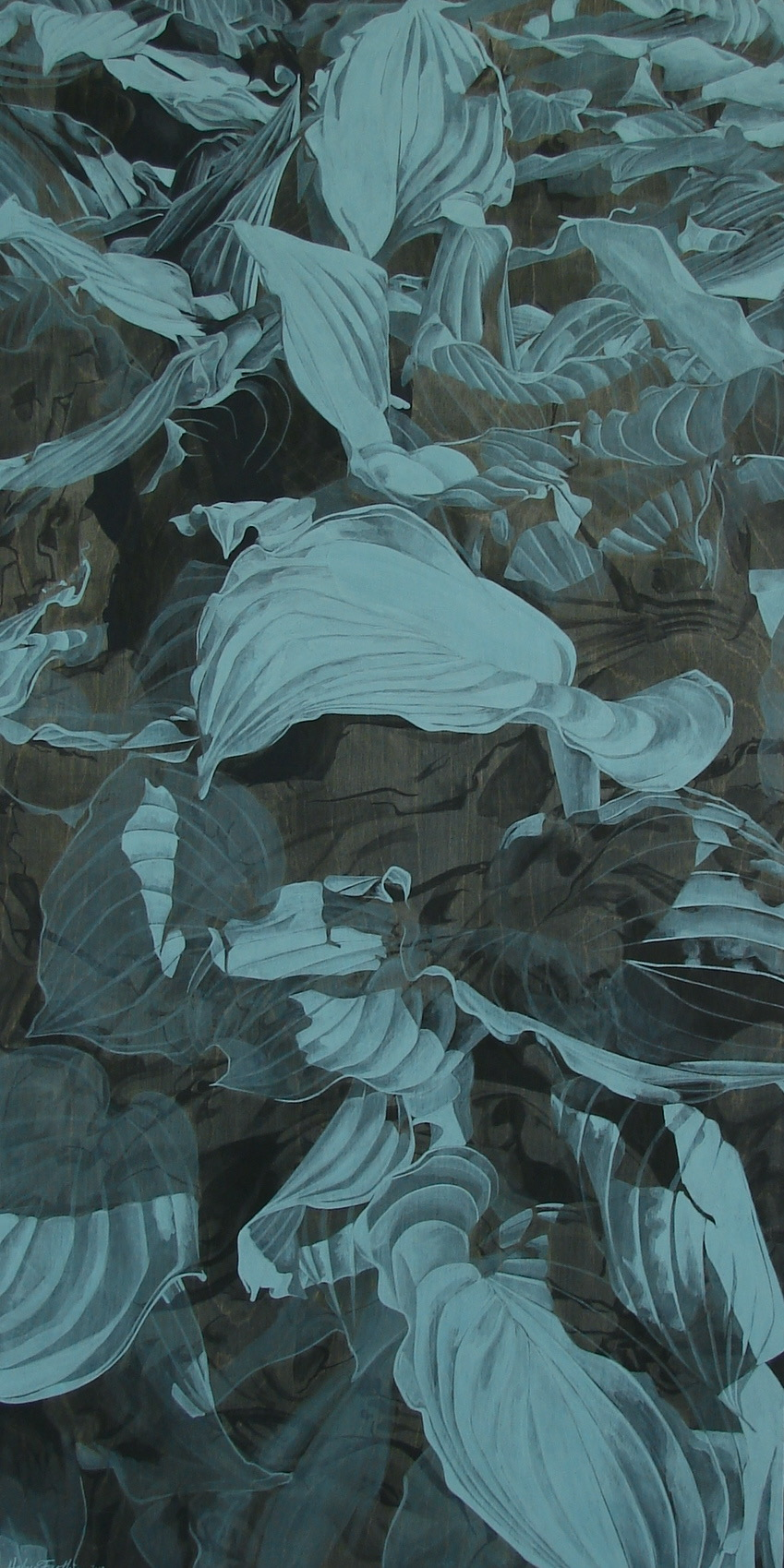"""Ink and Gouache on Wood, 48""""x24"""", 2013"""