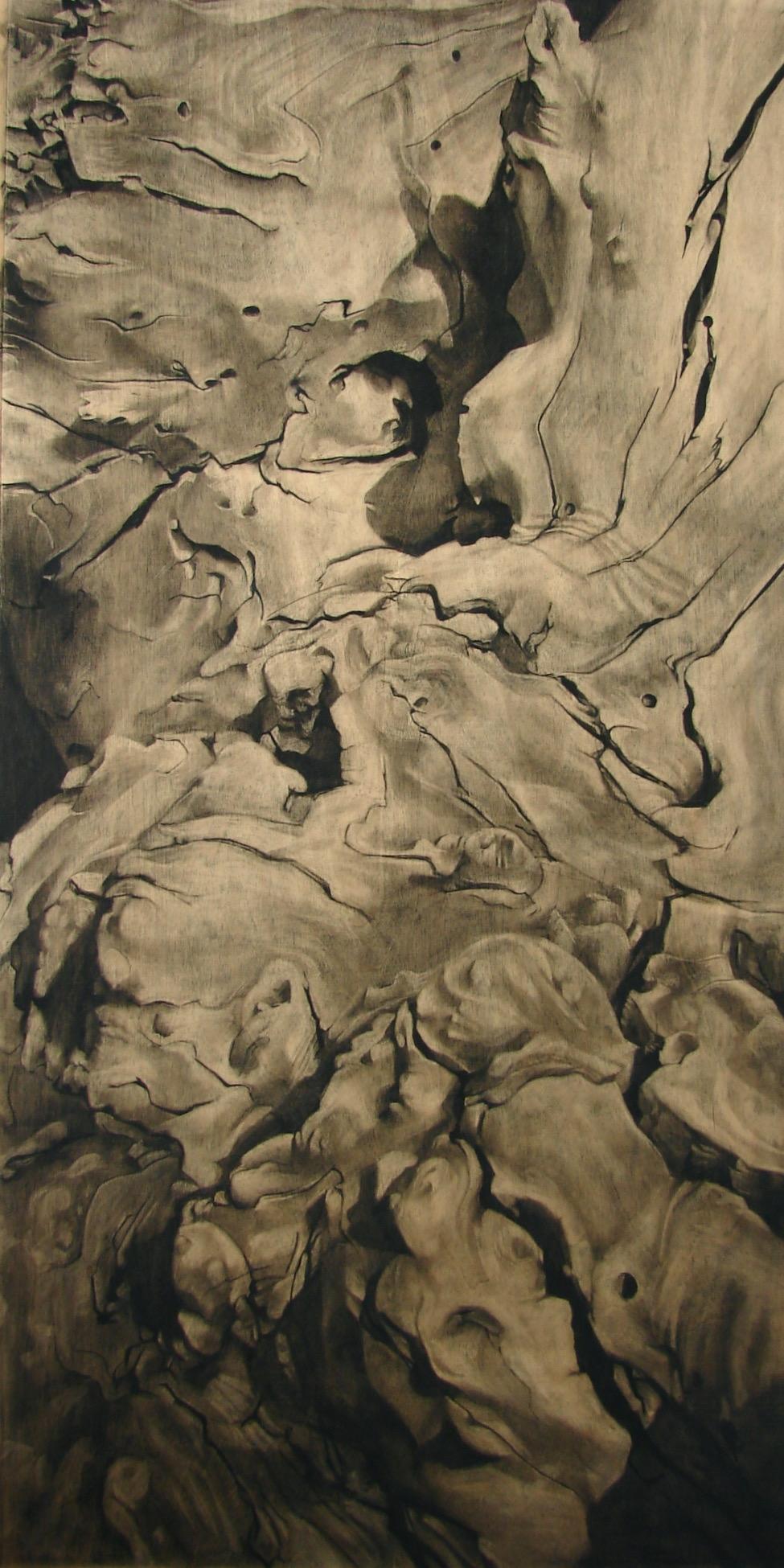 "Charcoal on Wood, 48""x24"", 2013"