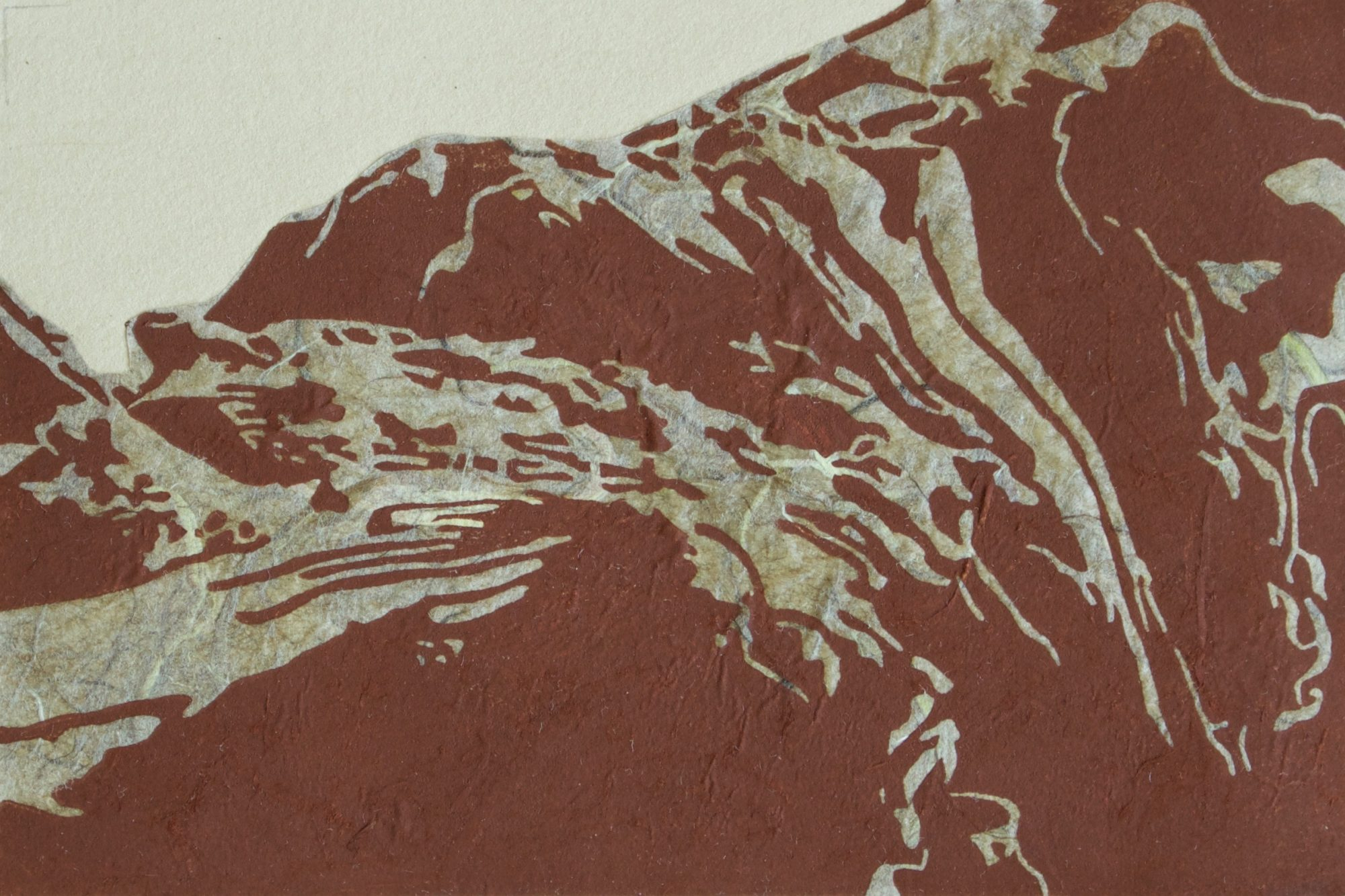 """Linocut and Chine-collé on Paper, 4""""x6"""", 2013"""
